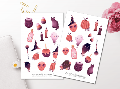 Halloween purple Sticker Set